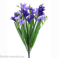 Artificial silk Freesia purple lilac bunch wedding flowers 50cm