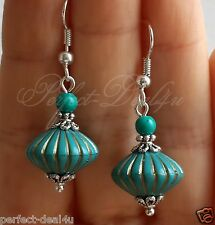 925 Sterling Silver Hook Turquoise Beads& turquoise stone Lightweight Earrings