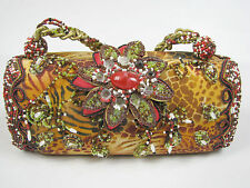 MARY FRANCES Jungle Flower Evening Shoulder Bag Purse Jeweled Beads