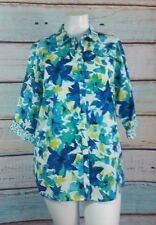 Investments II Blue White Yellow  Shirt Top Blouse Size 18W