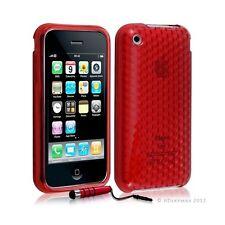 Housse coque etui gel damier transparent pour Apple Iphone 3G/3Gs couleur rouge