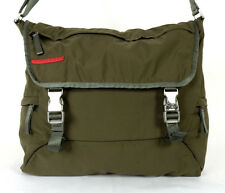 PRADA SPORT Army Green Nylon Dual Buckle Flap Front Messenger Bag