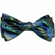 "NEW! Hand Made.100% Silk. SLATE BLUE, YELLOW Stripes SELF TIE Bow Tie. 2.5"" Wide"