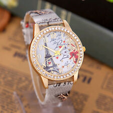 New Women Lady Eiffel Tower Crystal Leather Band Quartz Wrist Watch Crystal Dial