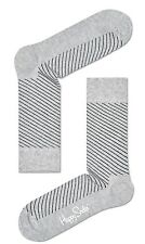 Happy Socks Diagonal Stripe Grey & Black Socks UK Size 4 - 7  Unisex Ladies Sock