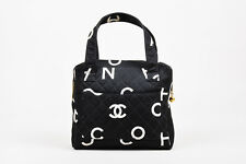VINTAGE Chanel Black White Canvas Printed Letter Quilted Double Handle Bag