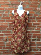 Vintage 90s Wrap Dress Womens Red Gold Patterned Silk Sleeveless (1009)