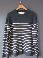 "SEASALT CORNWALL THIERRY JUMPER (M-42"") BLUE STRIPED CREW-NECK 100% LAMBSWOOL Ex"
