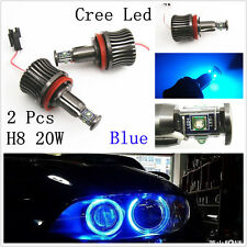2x H8 20W CREE LED BMW Angel Eyes Bulbs Halo Ring Blue DRL Daytime Light E90 E92