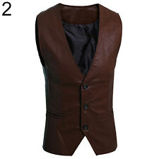 Men's Simple Slim Fit Faux Leather Vest Waistcoat Jacket Coat Hot Trendy