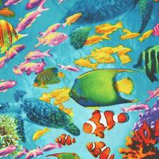 OCEAN AVE TROPICAL FISH REEF SEA TURTLE Cotton Fabric BTY for Quilting Craft Etc