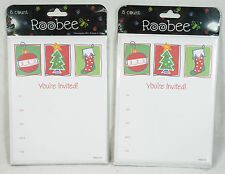 2 Packages Christmas Holiday Party Invitations Ornament Tree Stocking New Sealed