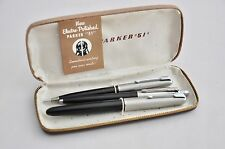 Electro-Polished Parker 51 vintage fountain pen and pencil set, extra rollerball