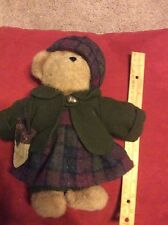 "Boyds Kristen T Oakley Bear 10"" Plush In Dress Coat Hat and Acorn Purse #904003"