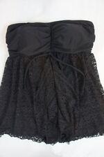 INC International Concepts One Piece Sz 18W Black Swimsuit Crochet Swim 470611W