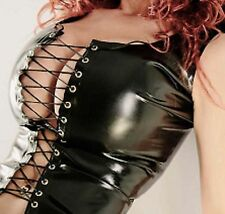 Sexy Black Faux Latex Look Corset Waistcoat Lace up Front Revealing