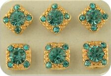 2 Hole Beads Crystal GALA with 8mm Aquamarine Swarovski Elements ~ Sliders QTY 6