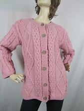 Connemara Aran Fisherman Knit SOFT Merino Wool Cardigan Sweater S Ireland PINK