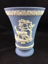 "Wedgwood Jasperware Lavender Pale Blue 6"" Footed Flare Vase, Floral, Fawn, Doe"