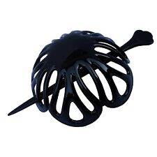 PARCELONA FRENCH RADIAL LARGE BLACK CELLULOID HAIR SLIDER BUN COVER WITH STICK