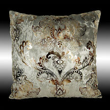 """NEW SHINY GRAY THICK VELVET GOLD DAMASK DECO THROW PILLOW CASE CUSHION COVER 17"""""""