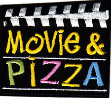"""MOVIE & PIZZA""/Iron On Embroidered Applique/Food,Entertainment, Show, Movies"