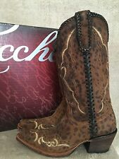 LUCCHESE M5040 Cassie Handmade Mexico Cheetah Camel Leather Boots Shoes US 6 NWB