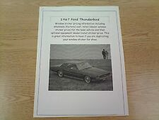 1967 Ford Thunderbird factory cost/dealer sticker prices for car & options $