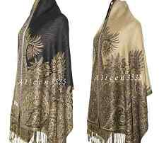 Triple Layer Pashmina & Silk Paisley Shawl-Black#D