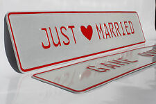 Just Married Personalised Wedding Car Number Plates Gift, reflective, customised