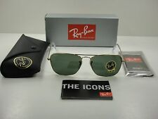 RAY-BAN CARAVAN SUNGLASSES RB3136 001 GOLD FRAME/GREEN CLASSIC LENS 55MM