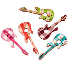 100pcs Mix Multicolor Charms Wooden Guitar Pendants Jewellery Making Findings C