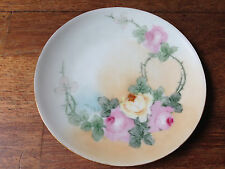 """ANTIQUE THOMAS SEVRES BAVARIA GERMANY HAND PAINTED ROSES 6 3/4"""" PORCELAIN PLATE"""