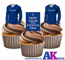 12 Edible Birthday Cup Cake Toppers Keep Calm I'm An Everton Fan Football Shirts