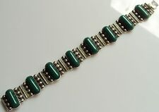 CMB Mexico Sterling Silver Link Bracelet with Green Cabochon Stones 6 7/8ths '