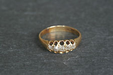 Antique 18ct Yellow Gold Five Stone Diamond Boat Shaped Gypsy Style Ring a/f