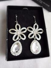 KENNETH JAY LANE AVON NIB PIERCED WHITE CRYSTAL FLOWER DANGLE EARRINGS