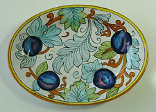 ARTISTICA Small Oval Wall Plate Purple Plums & Leaf Pattern Made in Italy 11 X 8