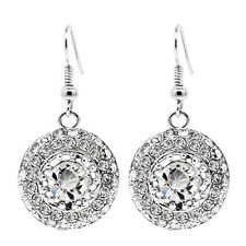 Silver Full of Rhinestones Shiny Evening Party Drop Dangle Earrings Bridal E1009