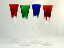 Ajka Crystal Glass Multi Color Cut to Clear Flared Wine Glasses Champagne Flutes