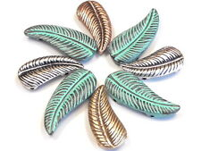 8 - 2 HOLE BEADS SOUTHWESTERN TRIBAL FEATHERS OR LEAVES MIXED METALS & PATINA