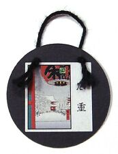 Japanese Miniatures: Round Wall Hanging of Winter Snow Scene with Lantern