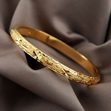 Wedding 18K Yellow Gold Filled Womens Bangle Bracelet 60MM GF Charms Jewelry