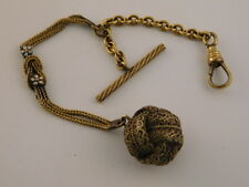 ANTIQUE GOLD FILLED WATCH FOB CHAIN WOVEN BALL ORNATE FLOWER W&SB