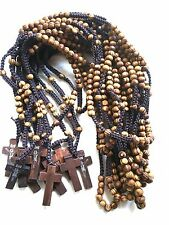 wood rosary lot  wood  Beads rosary wood crucifix necklace wood rosary Lot of 12