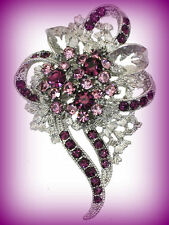 VINTAGE STYLE LIGHT DARK PURPLE FLOWER FLORAL RHINESTONE BROOCH PIN~EASTER GIFT