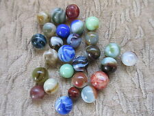 26 Old Vintage Machine Made Marbles Slag Swirls Various Colors