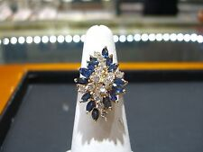 ESTATE VINTAGE DIAMOND AND SAPPHIRE RING 4.00 CARATS 14K  BALLERINA SIZE 8 WOW!