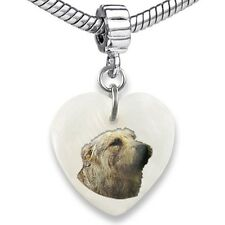Glen Of Imaal Terrier Heart Mother Of Pearl European Bracelet Charm Bead Ebs63