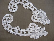 5 PRS GORGEOUS WHITE BRIDAL SCROLL RAYON VENISE APPLIQUE